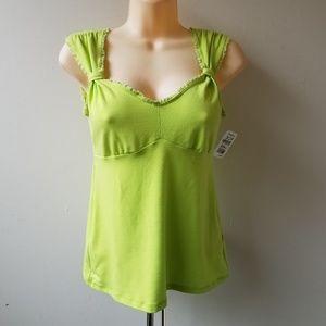Women's Green Lace Trim Tank Top